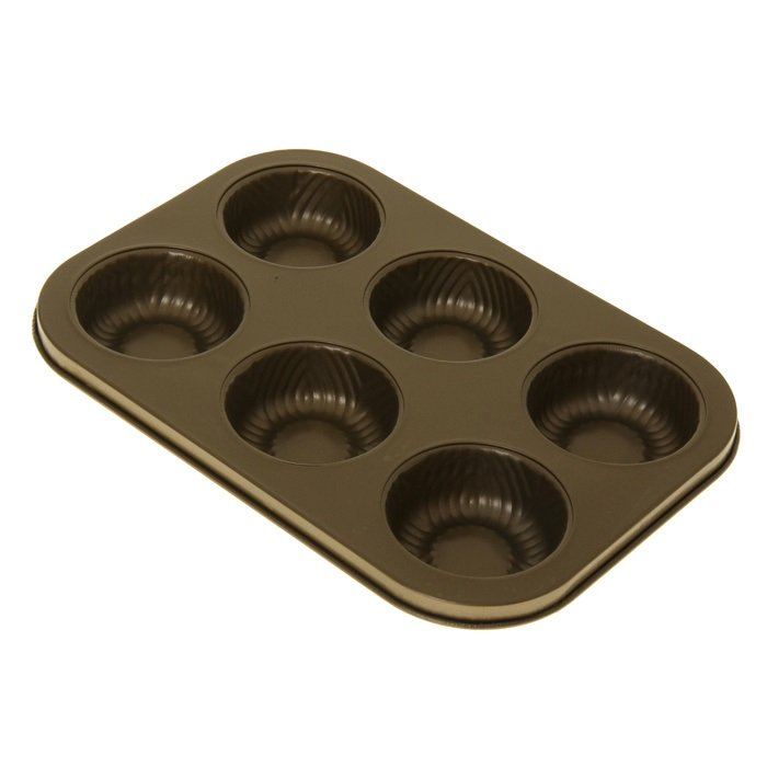 Форма для выпечки 26,5 x 18,5 x 3 см Золото Hitt для кексов 6 ячеек