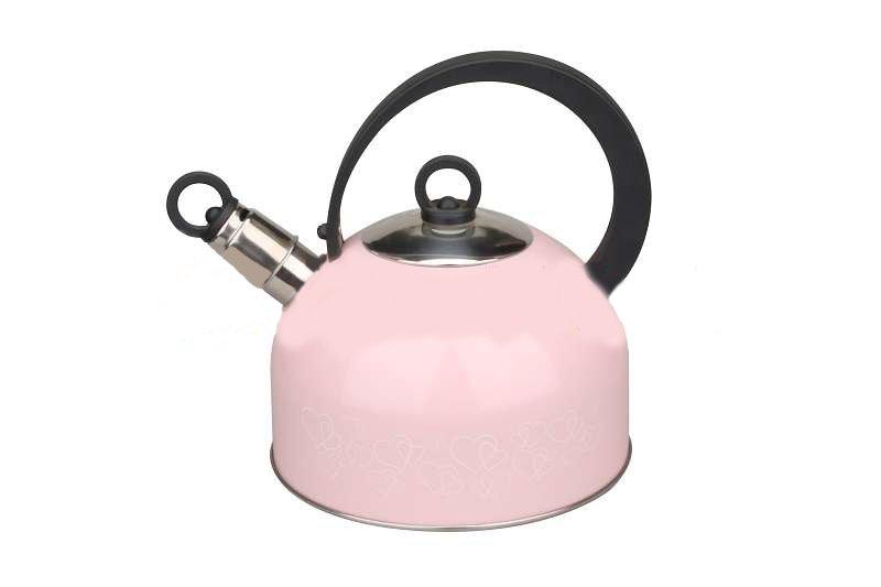 Чайник 2,5 л Herzen Hitt со свистком и с крышкой розовый